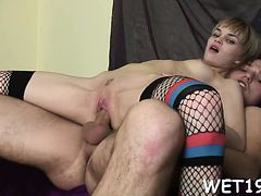 Enjoyable damsel is moaning as hunk pounds her doggystyle