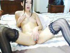 Asian Masturbating on Bed