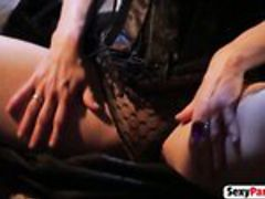 Brunette MILF with huge tits blows and rides big boner