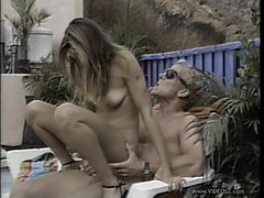 Sexy Blonde Get Fucked On A Beach Chair By A Pool
