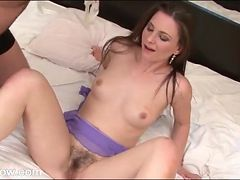 Milf beauty eaten out before she blows him