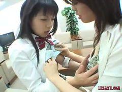 Asian Schoolgirls Kissing Licking And Sucking Nipples...
