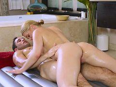 Abby Cross Blonde Masseuse Sucking Cock Bathroom