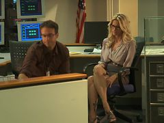 Smart looking Jessica Drake  Gives One Hell Of A Blowjob Before Getting Beat