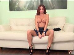 Pornstar Monique Alexander strips to heels and panties