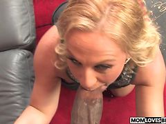 Huge black cock for mom Stunning Summer in front of her son