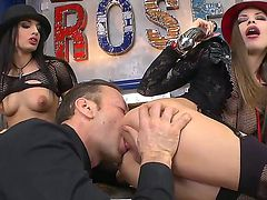 Avril Sun and Rocco Siffredi are having fun shoveling a hard sex toy into Kerrys tight butt hole
