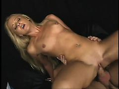 Young blonde Edina gets her ass split wide and shows her gaping hole