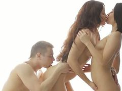 Euro beauties ass fingering and licking in a trio