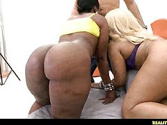 Voodoo gets double the pleasure with a 2 on 1 BJ from Kakey and her friend.