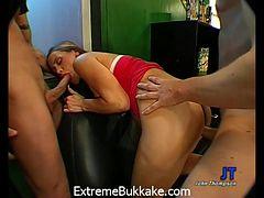 Crazy pornstar in Incredible Bukkake, Gangbang porn movie