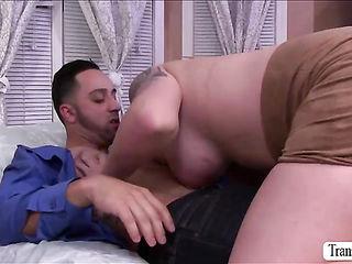 TS  Aspen Brooks in deep cock sucking
