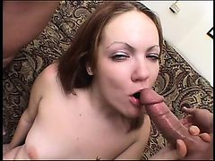 Kinky brunette with a hairy cunt gets pounded real deep and hard
