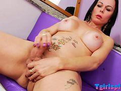 Big boobs mature shemale masturbates cock till she cums