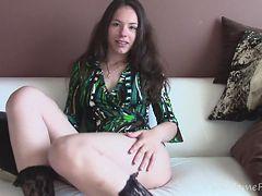 Hottie puts on sexy socks before masturbating