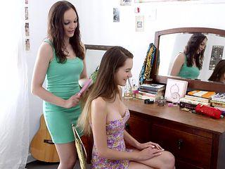 Hair brushing, pussy licking