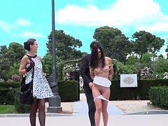 Brunette sub disgraced in public park