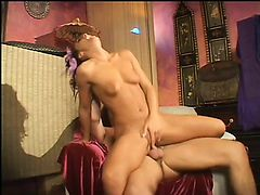 European slut sticks a dildo in her pussy while her man drills her ass