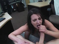 Brunette Sucking Dick And Banged In Pawn Shop Office