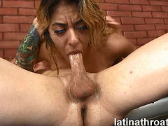 Hot Latina Camille Lixx Throated Deep And Both Holes Fucked